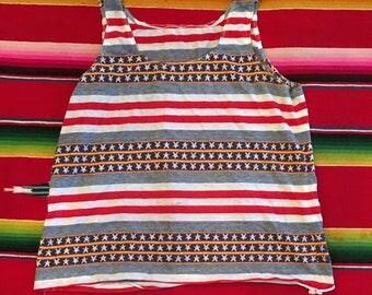 Vintage 1970s Stars & Stripes Bicentennial Red White Blue Cotton Knit Tank Top