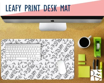 Leafy Print Desk Mat 2 Sizes - Extra Large Mouse Pad - Mouse Mat - Extended Mouse Pad - Desk Accessory