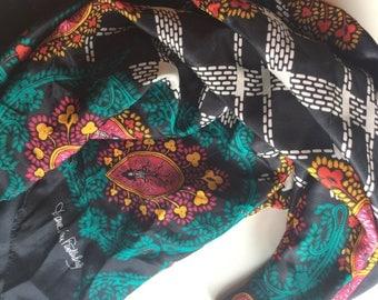 Diane Von Furstenberg Vintage Scarf, 100% silk scarf, large black silk scarf with Paisley 42 inches