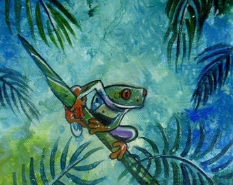 Australian wildlife art on canvas red eyed frog signed by artist comes with COA