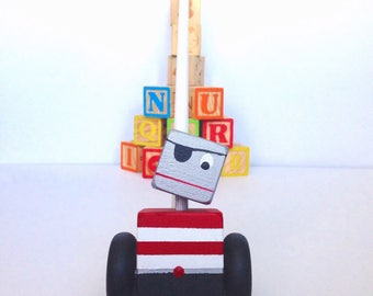Wooden Toy, Robot Toy, Push Toy, Travel Toy, Learning Toy, Natural Toys, Pirate Robot