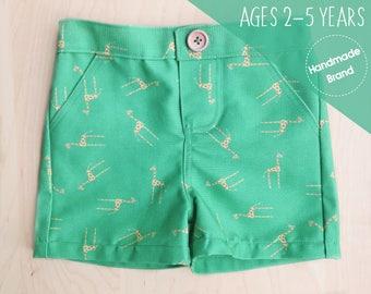Giraffe Shorts, Boys Shorts, Toddler Shorts, Kids Shorts, Safari Shorts, Animal Shorts, Green Shorts, Summer Shorts, Beach Shorts, Holiday