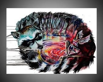 Vortex of dreams watercolor painting, Watercolor art, Raccoon painting, Raccoon art, Raccoon wall art, Dream art, Woman art, Dream painting