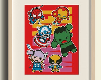 BUY 2 GET 1 FREE. Super Heroes, Marvel, Captain America, Ironman, Wolverine,Нalk, Thor, spiderman/ Cross Stitch Pattern Digital in .pdf #A21