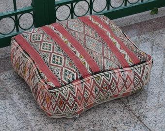 Moroccan pouf multicolor floor poufs design Home decor furniture square colored design 100% wool Handmade Azilal ottoman