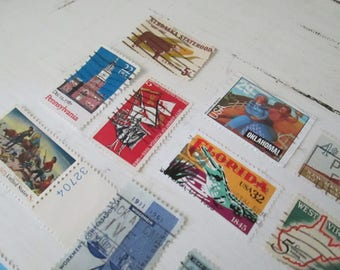 Vintage State Postage Stamps, Assemblage Art, Assemblage Jewelry Materials