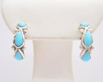 Turquoise Earrings, Turquoise Hoops, Southwestern, Hoops, Sterling Earrings, Sterling Silver Turquoise Half Hoop Post Earrings #3440