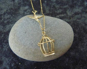 Necklace romantic birds 16 k Gold Plated cage