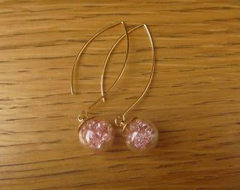 Earrings small Pink diamonds: bubble glass