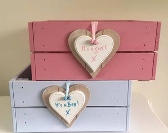 It's a Girl It's a Boy Baby Pink & Blue Storage Crate Box Changing Box Baby Shower Home Ideal Gift Hamper