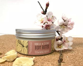 Vanilla coconut body butter, natural body butter, organic moisturizer, natural skin care, organic body butter, gift for her