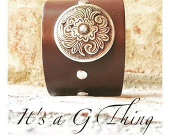 Dark Brown Leather Cuff with Concho
