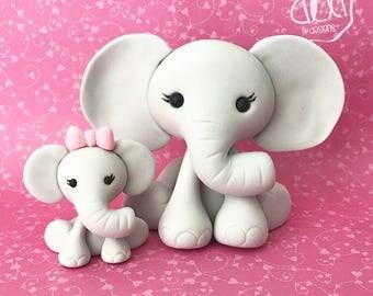 Edible Fondant Mom and Baby Elephant Cake Topper