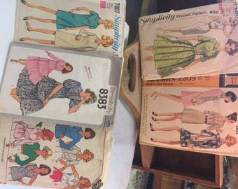 Lot of vintage Simplicity and McCall's sewing patters from the 1960's and 1970's