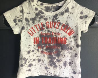 "3 month "" little guys crew"" splatter tee"