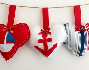 Nautical Red, White and Blue Decorative Hearts & Stitched Felt Anchor and Boat - boat/home accessories, gift ideas,door/drawer hanging