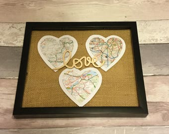 Personalised triple heart maps in frame