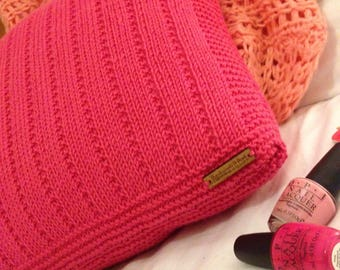 Hot Pink Hand Knitted Decorative Cushion