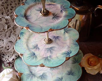 VINTAGE 3 TIER Royal Winton, Grimwades Art Deco 3 tier cake stand, vintage Wedding Table centrepiece, Royal Winton early century cake stand