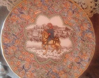 CHAUCER'S CANTERBURY TALES  Plate, The Knight: from Masons Ironstone Canterbury Tales series, decorative wall-hanging of Canterbury Tales