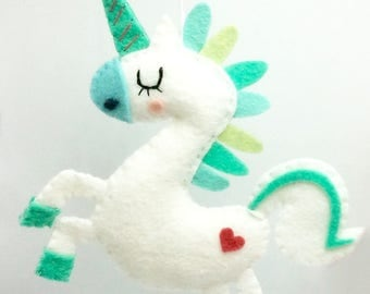 Green/Blue Unicorn, ornament or wall decor fantasy Unicorn, wool felt