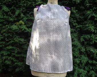 Women grey and plum Ribbon top