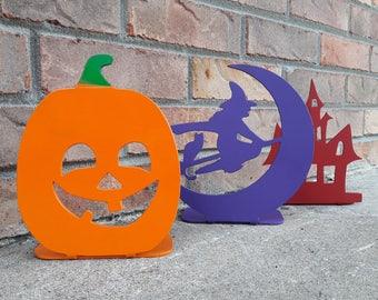 3 Piece Set HALLOWEEN Candle Holder - Halloween Decorations, Haunted House, Witch, Jack O Lantern, Pumpkin
