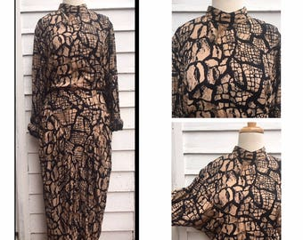 Vintage Mock Neck Reptile Pattern Dress | Size M | Women's Vintage Clothing