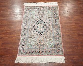 5X8 Silk Qum Area Rug 1970u0027s Hand Knotted Area Rug Pink Oriental Carpet (5
