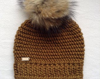 Crocheted gold color, very large Hat fur Pom Pom, ready to ship
