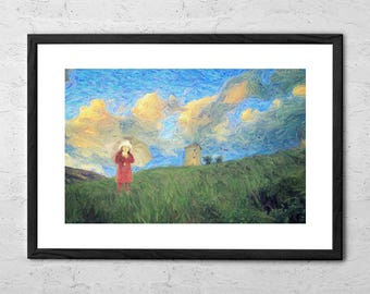 Windmill Girl - Impressionist Painting - Impressionism - Impressionist Art Print -  Oil Landscape Painting - Gifts For Her - Wall Art Prints