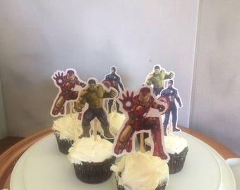Super Hero Avengers Cupcake Toppers