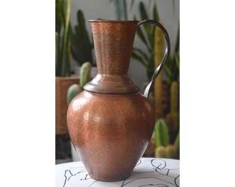 large vintage copper vase, large copper pitcher, mid-century copper jug, mid century copper, copper home decor, vintage copper vase handle,