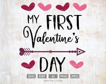 My First Valentine's Day - Cut File/Vector, Silhouette, Cricut, SVG, PNG, Clip Art, Download, Holidays, Hearts, Valentine's Day, Baby, Cute