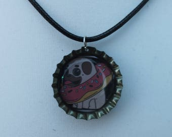 Pug in a Donut bottle cap necklace