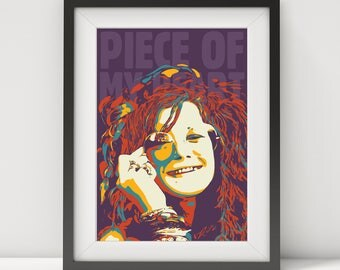 janis joplin, janis joplin poster, janis joplin art, 60's, music poster, quote poster, piece of my heart, rock poster, blues art, pop art