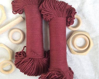 Wine Burgundy* cotton rope, 3mm, 100 meters, macrame craft supplies, red rope, coloured cotton