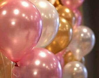Gold, Pink, White Balloon Mix, First Birthday Balloons, Wedding Balloons, Engagement Balloons, Balloon Pkt 12