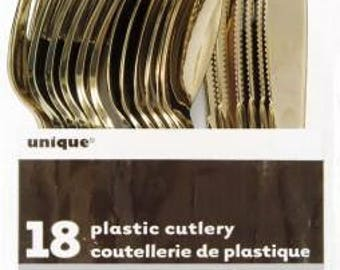 Gold Plastic Cutlery, Disposable Gold Cutlery, Packet of 18 in Gold
