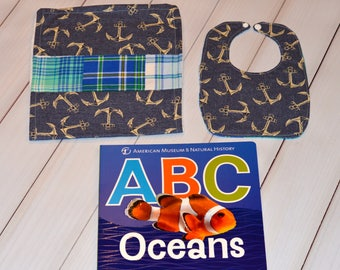 Baby Anchor bib, burp cloth and book set