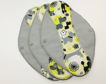 "Dog Day Afternoon on Gray Reusable Pantyliner with Wings (9.5"") - menstrual pad; panty liner; cloth pads; cotton; washable liner; flannel"