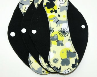 "Dog Day Afternoon on Black Reusable Pantyliner with Wings (9.5"") - menstrual pad; panty liner; cloth pads; cotton; washable liner; flannel"