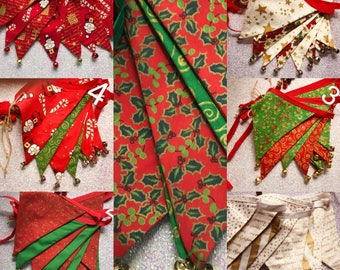Sale.....assorted CHRISTMAS BUNTING, festive bunting, cotton bunting, Christmas garland, festive flags, jingle bells