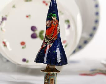 Ukrainian Petrykivka Ukrainian Girls Painting Art Wood Mache Painting Figurine Ukrainian Miniature Figurine Painting Witch