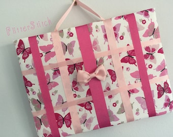 Pink butterfly patterned hair bow storage board or holder standard size