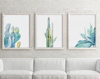 Watercolor Set of 3 Prints, Green & Blue Plant Drawing, Minimalist Illustration, Botanical Wall Decor, Cactus Aloe Vera, Leaves, Succulents