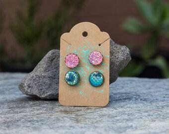 Druzy-Mermaid Earring Set//2 Pairs//Stud Earrings//Gift