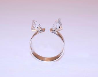 Silver Ring with Herkimer Diamond quartz Herkimer Quartz silver ring Silver Ring mit Herkimer Diamant Quarz