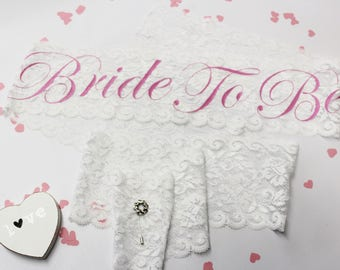 Bachelorette Lace Sash Bridal Party Sash, Bride To Be Sash, Bridal Shower, Gift for Bride, Lace Sash with Pin, Bridesmaid, Bride, Model RRGM