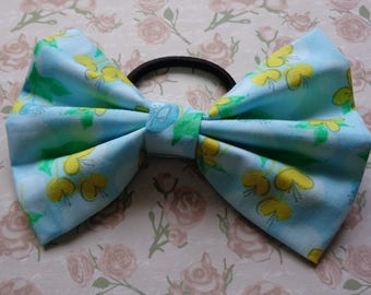 Buttercup Blue Fabric Hair Bow